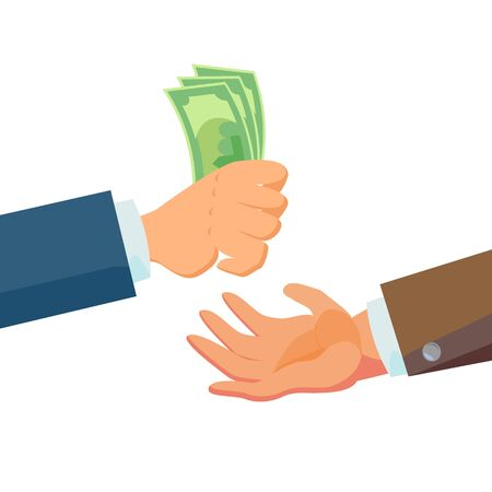 Businessman Hands Giving Money Vector. Salesman Agent And Owner. Banking Finance Sale Concept. Flat Business Cartoon Isolated
