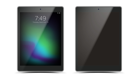 Tablet Mockup Design Vector. Black Modern Trendy ouch Screen Tablet Front View. Isolated On White Background. Realistic 3D Illustration. Illustration