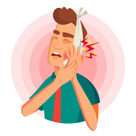 Toothache Concept Vector. Unhappy Man With Ache. Pain In The Human Body. Flat Cartoon Illustration