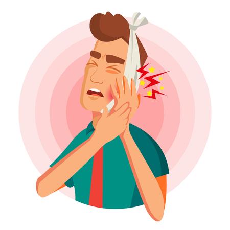 Zahnschmerzen Konzept Vektor. Unglücklicher Mann mit Schmerz. Schmerz im menschlichen Körper. Flache Cartoon-Illustration Vektorgrafik