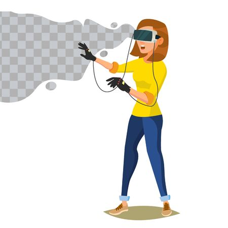 Virtual Reality Vector. Wear Virtual Reality Digital Glasses Headset. Emotions From VR Cyberspace Concept. Isolated On White Cartoon Character Illustration Illustration