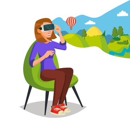 3d Reality Simulation Vector. Having A Good Time With Wearing Virtual Reality Device. Enjoying VR Device. New Virtual Technologies. Cartoon Character Illustration