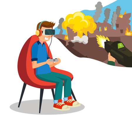 Augmented Reality Game Vector. Young Boy With Headset Playing Virtual Reality Simulation Game. Isolated Flat Cartoon Character