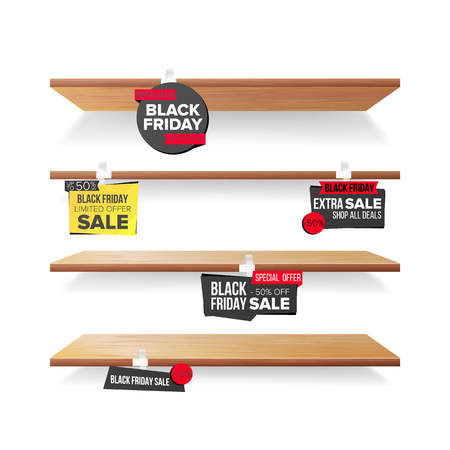 Empty Shelves, Black Friday Sale Advertising Wobblers Vector. Retail Concept. Black Friday Discount Sticker. Sale Banners. Isolated Illustration