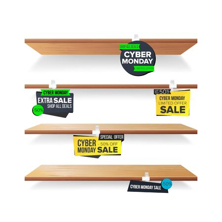 Empty Shelves, Cyber Monday Sale Advertising Wobblers Vector. Retail Concept. Big Sale Banner. Cyber Monday Discount Sticker. Sale Banners. Isolated Illustration Illustration