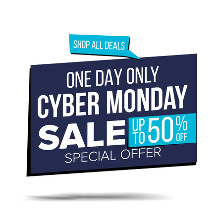 Cyber Monday Sale Banner Vector. Special Offer Sale Banner. Holidays Sale Announcement. Isolated On White Illustration Illustration