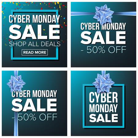Cyber Monday Sale Banner Set Vector. Cartoon Business Brochure Illustration. November Mega Sale Design Concept. Template Design For Cyber Monday Sale Brochure, Poster, Discount Offer Advertising.