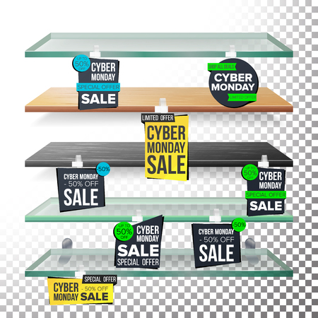 Supermarket Shelves, Cyber Monday Sale Advertising Wobblers Vector. Retail Sticker Concept. Mega Sale Design Concept. Cyber Monday Best Offer. Discount Sticker. Sale Banners. Isolated Illustration