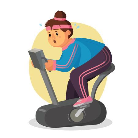 Dikke vrouw in sportschool Vector. Vrouw die op tredmolen loopt. Sport fiets. Fitness Girl Training. Zwaarlijvige Vrouw die op Tredmolen loopt. Geïsoleerde Flat Cartoon karakter illustratie Stock Illustratie