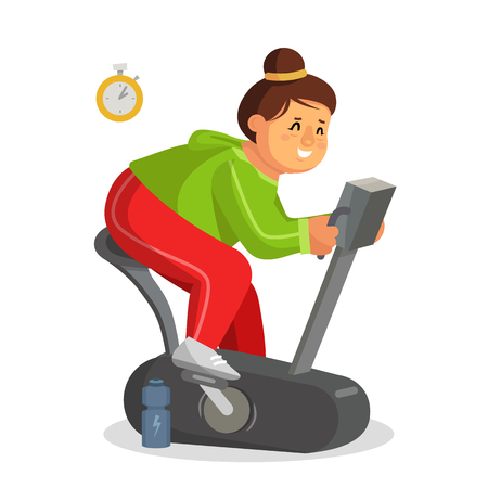 Fat Woman Working Out In Gym Vector. Training On Exercise Bike. Girl Working Out In Sweat. Young Obese Woman. Isolated On White Cartoon Character Illustration