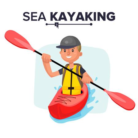 Kayaking Man Vector. Rafting. Vest Jacket, Paddle Oar, Kayak Boat. Kayaking Water Sport. Flat Cartoon