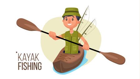Paddling Kayak Vector. Summer Kayak Fishing. Fishermen Isolated Flat Cartoon Character Illustration