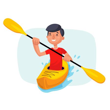 Kayak pagayant sur le vecteur de bateaux. S'amuser. Rame de pagaie. Sport, activités de plein air. Personnage de dessin animé isolé sur blanc Banque d'images - 88859141