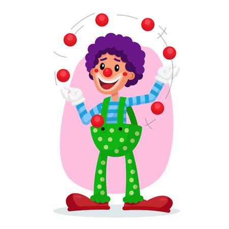 Classic Clown Vector. Amazing Public Circus Show. Man Juggling Balls. Flat Cartoon Illustration