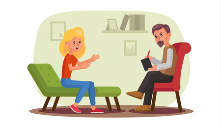 Classic Psychologist Vector. Classic Psychotherapist And Woman Patient. Psychotherapy Counseling Concept. Consultation Of Psychotherapist. Psychology Cabinet With Sofa. Flat Cartoon Illustration