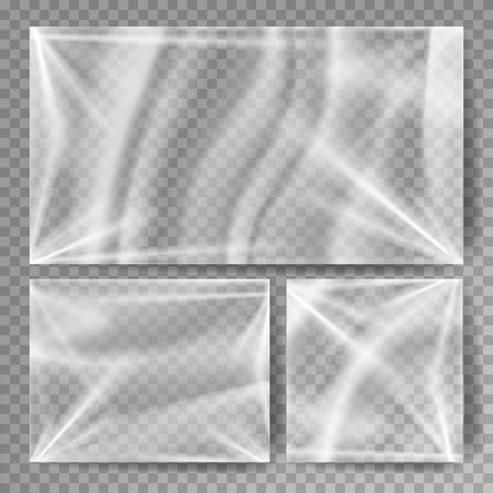Realistisch beeld in plastic verpakking in verschillende formaten. Stock Illustratie