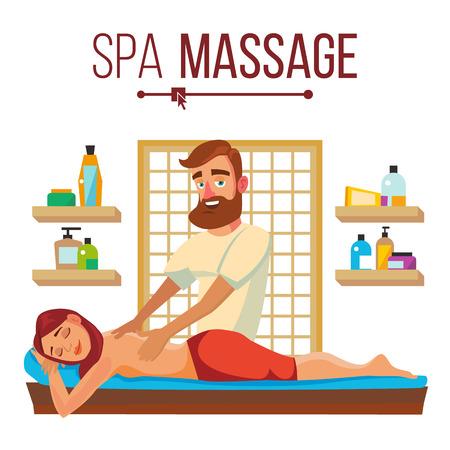 Spa Massage Vector. Relaxation Wellness Salon. Isolated Flat Cartoon Character Illustration Illustration