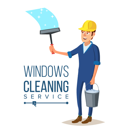 Skyscraper Cleaning Service Vector. Man With Bucket Of Water And Scraper. Professional Worker Cleaning Windows. Isolated On White Cartoon Character Illustration