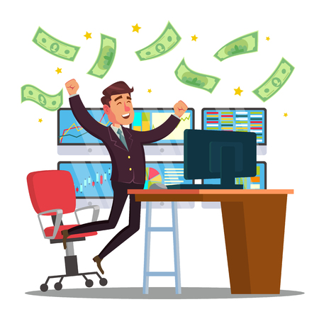Professional Trader Vector. Online Working Trader With Monitor. Multiple Computer Screens. Flat Cartoon Illustration Illustration