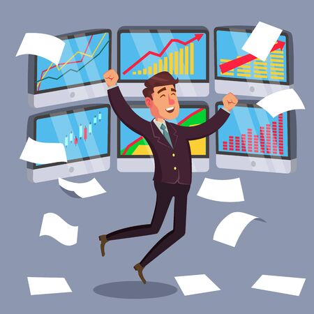 Successful Trader Vector. Stock Market Graph Diagram. Ascending Graphs. Data Analyses. Isolated On White Cartoon Character Illustration Ilustrace