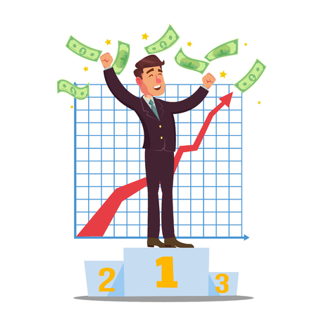 Classic Trader Vector. Stock Broker Trading In A Bull Market. Businessmen Trading Stocks Online. Cartoon Character Illustration