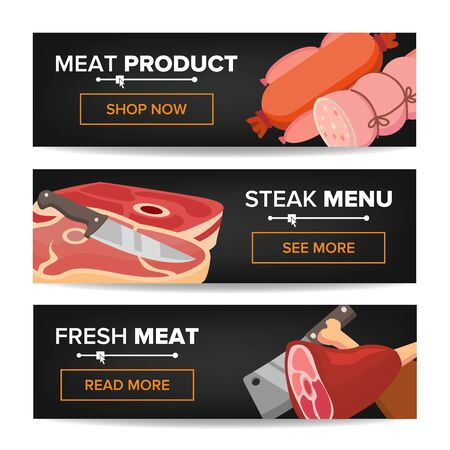 Meat Product Horizontal Promo Banners Vector. Beef And Pork Sausage. For Butcher Shop Promo. Isolated Illustration