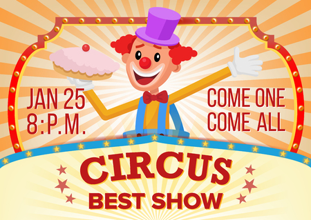 Circus Clown Banner Blank Vector. Traveling Circus Amazing Show. Carnival Festival Performances Announcement. Illustration Illustration
