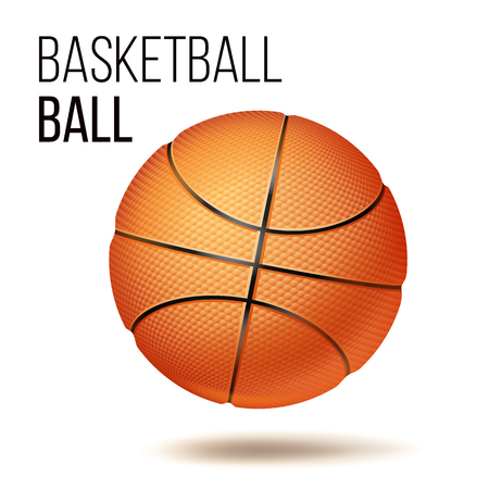 Orange Basketball Ball Isolated Vector. Realistic Illustration Illustration