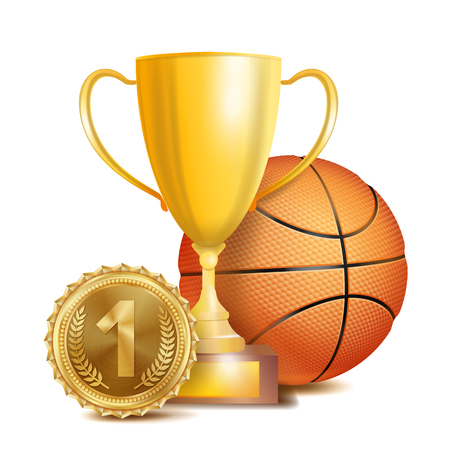 Basketball Achievement Award Vector. Sport Banner Background. Orange Ball, Winner Cup, Golden 1st Place Medal. Realistic Isolated Illustration Illustration
