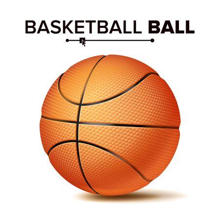 現実的なバスケットボールボールベクトル。古典的な丸いオレンジ色のボール。スポーツゲームのシンボル。図