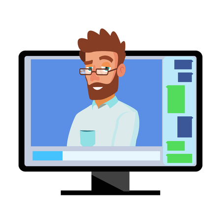 Online Video Conference Vector. Man And Chat. Director Communicates With Staff. Webinar. Business Meeting, Consultation, Seminar, Online Training Concept. Flat Cartoon Isolated Illustration
