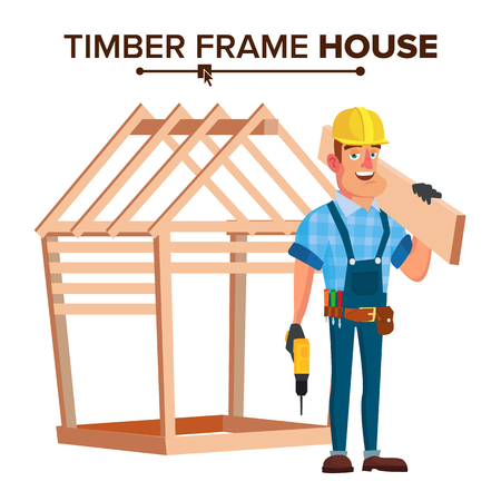 American Builder Vector. Building Timber Frame House. New Home. Roofer On Construction Site. Cartoon Character Illustration Vettoriali