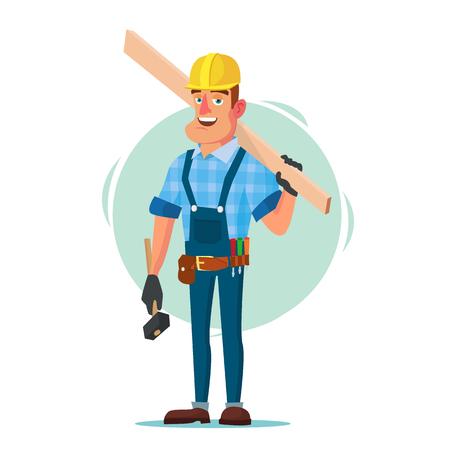 Ouvrier en bois cadre construction vecteur. Ouvrier du bâtiment sur l'encadrement d'un bâtiment. Illustration de personnage de dessin animé plat isolé