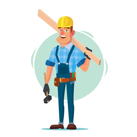 Timber Frame House Construction Worker Vector. Construction Worker On Framing A Building. Isolated Flat Cartoon Character Illustration