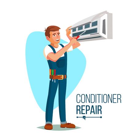 Vetor do trabalhador de reparação do condicionador de ar. Gesticulador do jovem homem feliz masculino. Ilustração de personagem de desenho animado plana isolada