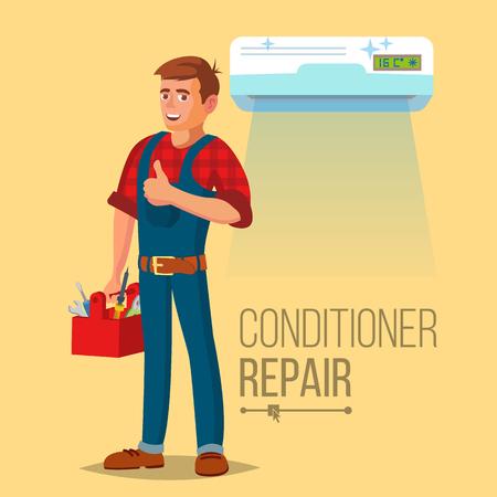 Vecteur de réparation de climatiseur professionnel. Homme électricien en installant le climatiseur. Illustration de dessin animé plat