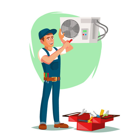 Airconditioner Reparatie Service Vector. Jonge man repareren airconditioner. Cartoon karakter illustratie