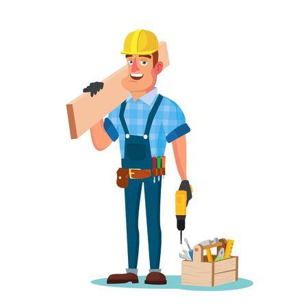 Construction Worker Building Timber Frame Vector. Classic Uniform And Helmet. Wooden Boards. Flat Cartoon Illustration