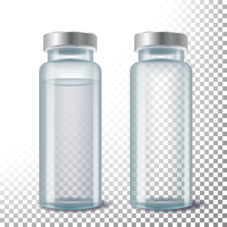 Medical ampule vector. 3D realistic transparent glass medical ampule. Isolated illustration Illustration