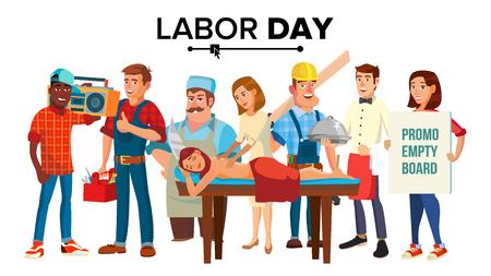 Dag van de Arbeid Vector. Groep mensen. Werknemersverzameling. Flat geïsoleerd Cartoon afbeelding