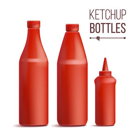Tomato ketchup bottle set vector 3d realistic blank mock up good for branding design vector illustration