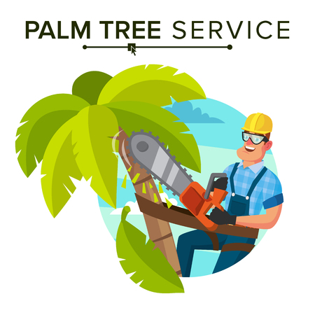 Palm Tree Removal Vector. Trimming Tree Or Removal To Tree Pruning. Flat Cartoon Illustration