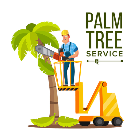 Professional man trimming tree or removal flat character vector illustration