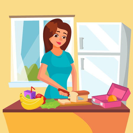 Lunch Box Vector. Classic Lunch Box With Sandwich, Vegetables, Water, Almonds, Fruits. Woman In Kitchen Preparing A Lunch Box. Healthy Food. Isolated On White Cartoon Character Illustration