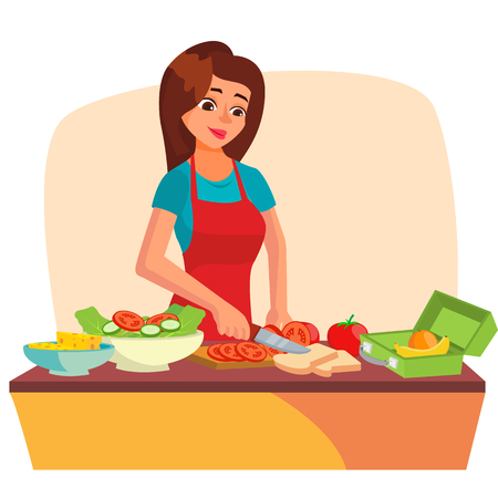 Lunch Box Vector. Making A Healthy School Lunch For Kids. Making School Lunch Box. Cartoon Character Illustration Illustration