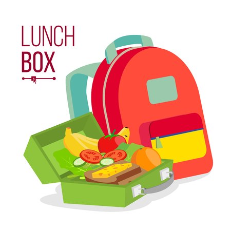 Lunch Box And Bag Vector. Healthy School Lunch Food For Kids, Student. Isolated Flat Cartoon Illustration