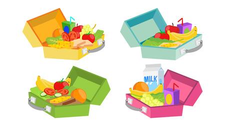 Lunchboxen instellen Vector. Verschillende ingrediënten. Gezonde voeding voor kinderen en studenten.
