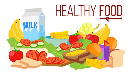 Healthy Food Vector. Diet For Life Nutrition. Modern Balanced Diet. Isolated Flat Cartoon Illustration