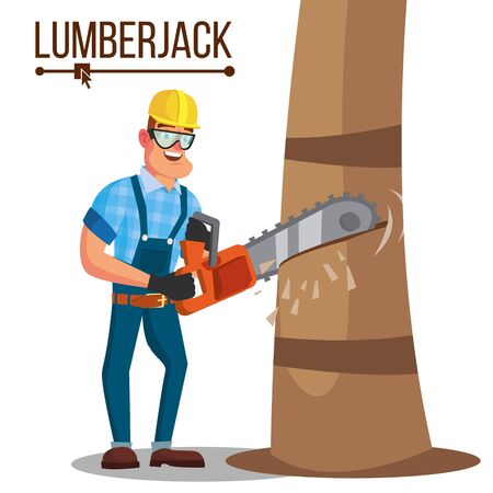 Lumberjack Vector. Classic Logger Man Working With Hand Chainsaw. Isolated Cartoon Flat Character Illustration