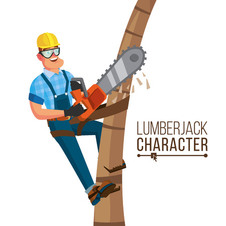 Lumberjack Vector. Classic Worker With Hand Chainsaw Tool. Deforestation Concept. Isolated Cartoon Flat Character Illustration